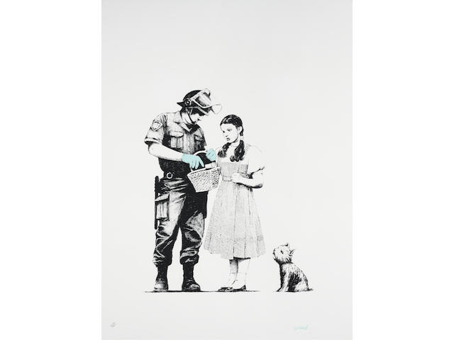 Banksy (British, born 1975) Stop and Search Screenprint in colours, 2007, on Arches wove paper, signed in blue crayon, numbered 108/500 in pencil, published by Pictures on Walls, London, with their blindstamp, the full sheet, in very good conditionImage, 455 x 380mm., Sheet 765 x 575mm.