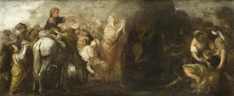 Bartolomé Esteban Murillo (Seville 1618-1682) Moses drawing water from the Rock
