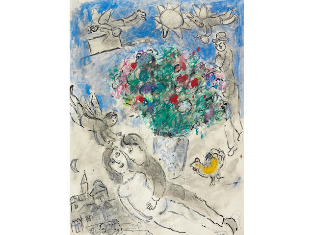 Marc Chagall (1887-1985) Repos au bouquet de fleurs (Executed circa 1980)