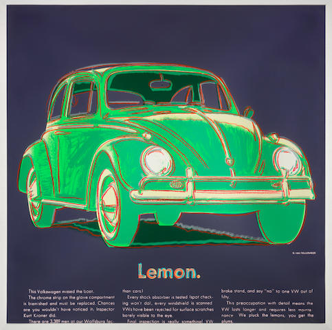 Andy Warhol (American, 1928-1987) Volkswagen, from Ads Screenprint in colours, 1985, on Lenox Museum Board, signed and numbered V/X in pencil (there was also a numbered edition of 190), printed by Rupert Jasen Smith, with his blindstamp, published by Ronald Feldman Fine Arts, Inc., New York, with their blindstamp, the full sheet, the colours bright and fresh, in good conditionSheet 965 x 965mm.