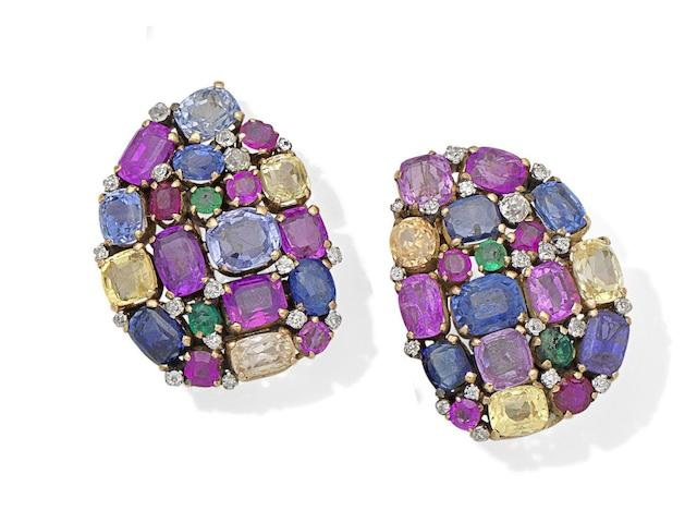 A pair of gem-set clip brooches, attributed to Dorrie Nossiter (2)