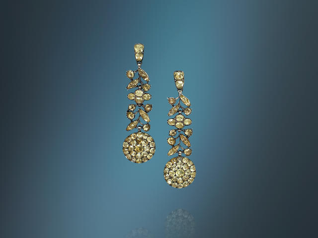 A pair of late 18th century/early 19th century chrysoberyl pendent earrings