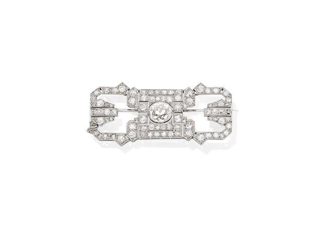 An Art Deco diamond brooch, circa 1920