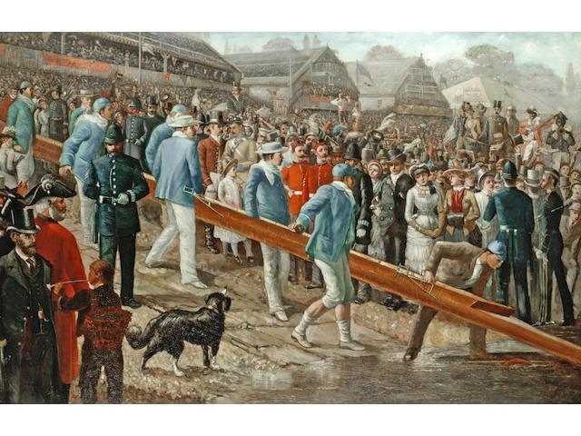 Circle of Sir Robert Ponsonby Staples (British, 1853-1943) The Boat Race, Cambridge on the slip