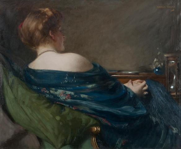 George Henry RA RSA RSW (British, 1858-1943) The Hour-Glass 75 x 90 cm. (29 1/2 x 35 3/8 in.)
