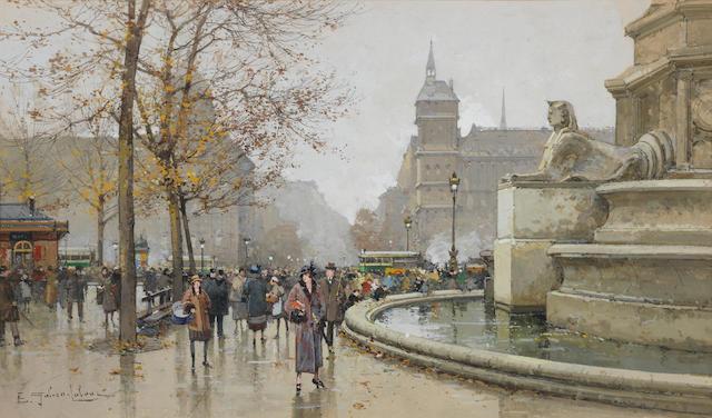 Eugène Galien-Laloue (French, 1854-1941) La fontaine du Palmier, place du Châtelet