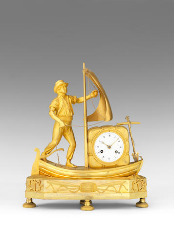 An early 19th century French gilt bronze figural mantel clock