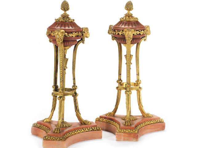 A pair of gilt bronze and pink marble brûle-parfum style garniture ornaments in the Louis XVI style, probably late 19th / early 20th century (2)