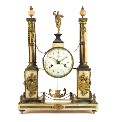 A late 18th century / early 19th century French gilt bronze  mounted and marble mantel clock signed Collard Paris