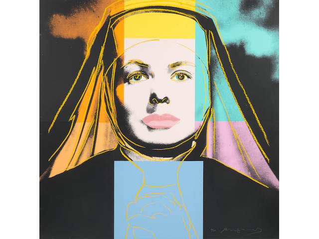 Andy Warhol (American, 1928-1987) The Nun, from: Ingrid Bergman  Screenprint in colours, 1983, on Lenox Museum Board, signed and numbered 26/250 in pencil (there were also twenty artist's proofs), printed by Rupert Jasen Smith, New York, with his blindstamp, published by Galerie Börjeson, Malmö, Sweden, with their inkstamp verso, printed to the edges of the full sheet, in very good conditionSheet 965 x 965mm.
