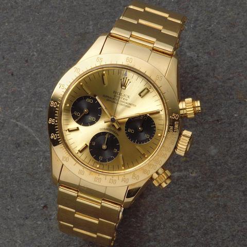 Rolex. A fine 18K gold manual wind chronograph bracelet watch  Cosmograph, Ref: 6265, Circa 1976