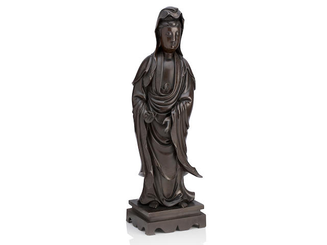 A silver wire inlaid bronze model of Guanyin Shisou mark, 18th century