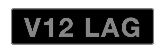 UK VEHICLE REGISTRATION NUMBER 'V12 LAG',