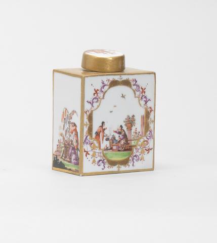 A Meissen rectangular tea canister, circa 1730