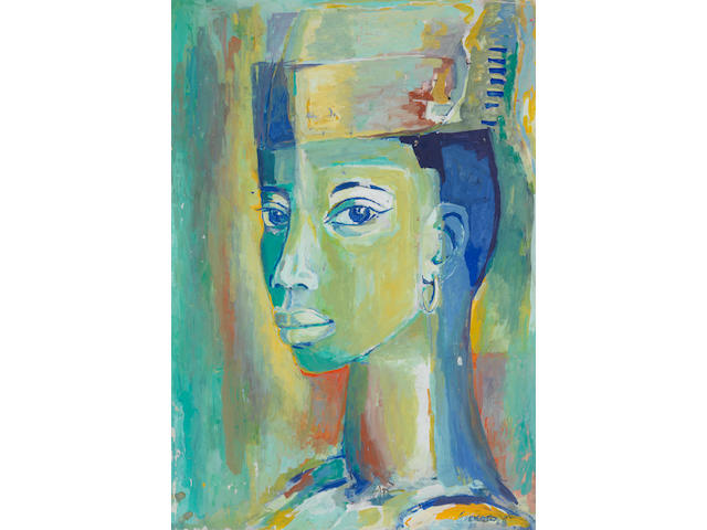 Gerard Sekoto (South African, 1913-1993) Female head study