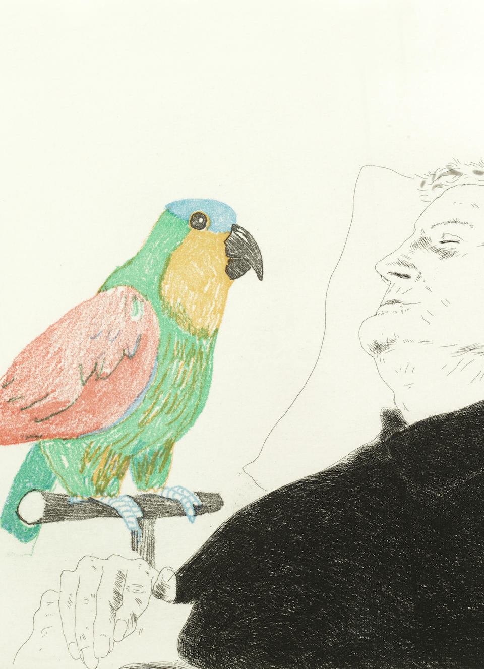 David Hockney (British, born 1937) Félicité sleeping with Parrot, from 'Illustration for A Simple Heart of Gustave Flaubert'  Etching with aquatint printed in colours, 1974, on wove, signed in pencil, one of twenty-three artist's proofs aside the numbered edition of 100, printed by Atelier Crommelynck, Paris, published by Petersburg Press, London, the full sheet, 219 x 236 mm (8 5/8 x 9 1/4in)(PL)