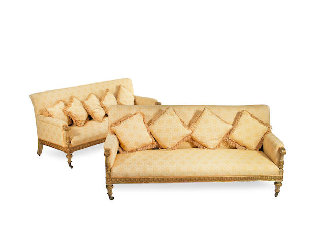 A pair of mid Victorian painted and parcel gilt sofas  commissioned for Wentworth Woodhouse, South Yorkshire (2)