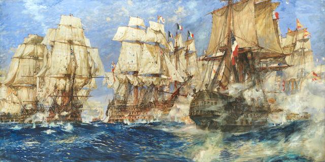 Charles Edward Dixon (British, 1872-1934) 'Oak, Hemp, and Powder, Trafalgar, 1805'