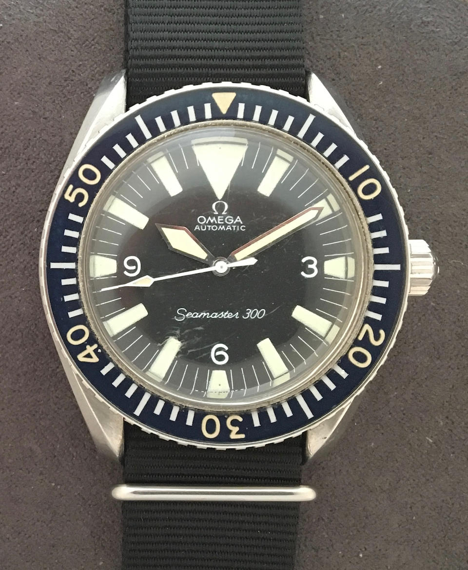 Omega. A rare stainless steel military issue automatic centre seconds watch  Seamaster 300, Ref: 165024-64 S.C., Circa 1964
