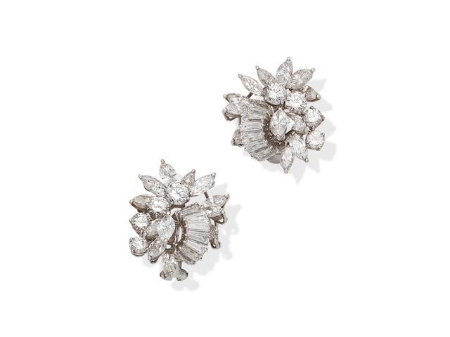 A pair of diamond earrings, circa 1960