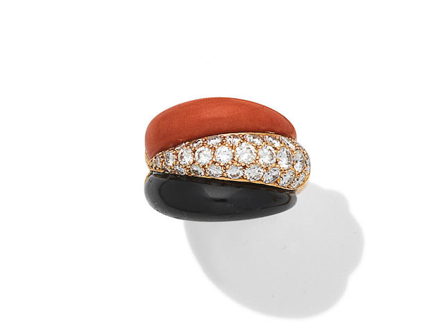 A coral, onyx and diamond ring, French