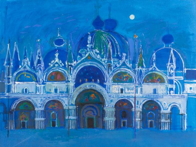 Alberto Morrocco OBE RSA RSW RP RGI LLD D Univ (British, 1917-1998) The Basilica Di San Marco, Moonlight 117 x 114 cm. (46 1/16 x 44 7/8 in.)