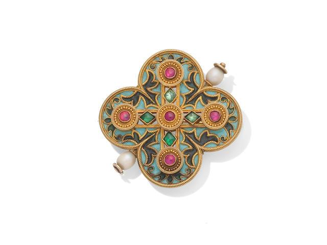 An enamel, pearl and gem-set brooch, by Castellani,