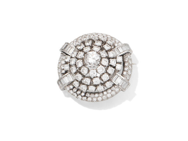 A diamond target brooch, circa 1955