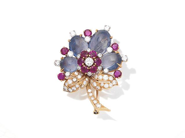 A sapphire, ruby and diamond flower brooch, by Boucheron, circa 1960