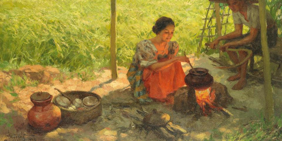 Fernando Cueto Amorsolo (Filipino, 1892-1972) Rice harvesting