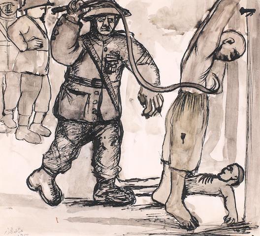 Abdel Hadi El-Gazzar (Egypt, 1925-1965) Study of the Hanged Man (The Denshawai Incident)