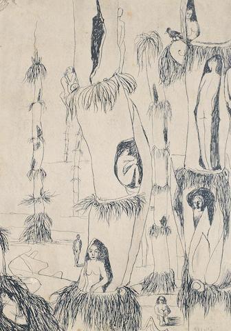 Abdel Hadi El-Gazzar (Egypt, 1925-1965) Women in Bamboo Trees