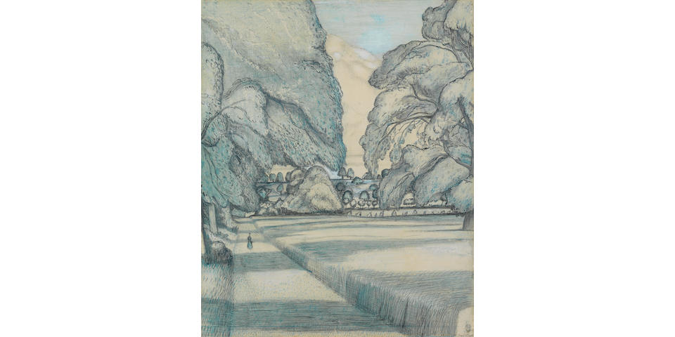Paul Nash (British, 1889-1946) The Peacock Path 45.7 x 38.1 cm. (18 x 15 in.) (Executed in 1912)