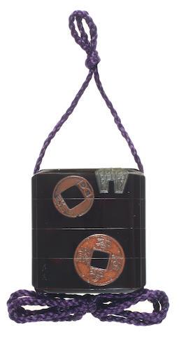 SHIBATA ZESHIN 柴田是真 (1807–1891) INRŌ WITH ANTIQUE COINS 古銭蒔絵印籠 Meiji era (1868–1912), circa 1870–1890