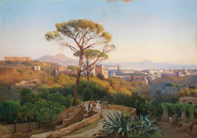 Giacinto Gigante (Italian, 1806-1876) Panorama of Naples with Capodimonte and Mount Vesuvius in the distance