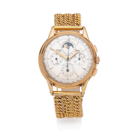 Universal Geneve. An 18K rose gold manual wind triple calendar chronograph bracelet watch with moon phase  Tri-Compax, Ref: 1236, Circa 1950