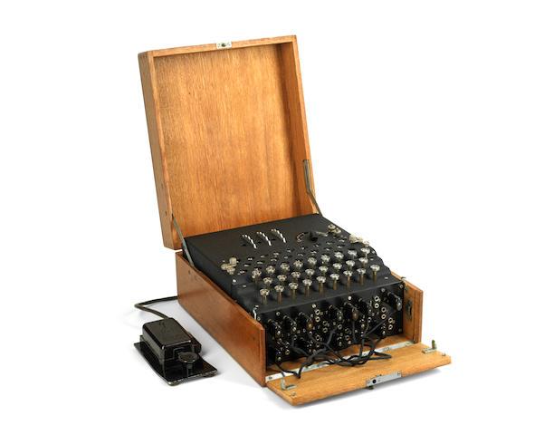 A three-rotor Model 1 Enigma cipher machine,  German,  1933,