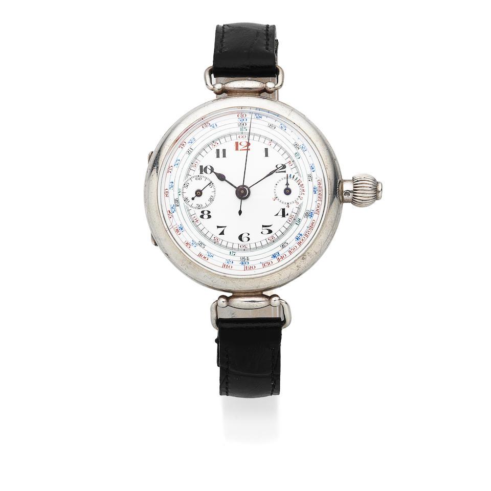 A silver manual wind single button chronograph wristwatch Circa 1940