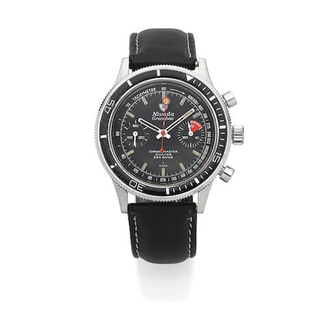Nivada. A stainless steel manual wind chronograph wristwatch  Chronomaster Aviator Sea Diver, Ref: 85004, Circa 1960
