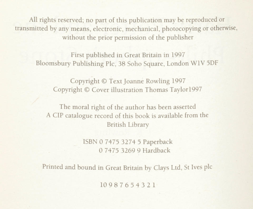 """ROWLING (J.K.) Harry Potter and the Philosopher's Stone, FIRST EDITION, FIRST ISSUE, AUTHOR'S PRESENTATION COPY, inscribed """"27.7.97 For Meera, Donnie, Nastassia and Kai, with lots of love from Jo (also known as J.K. Rowling)"""", Bloomsbury, 1997"""