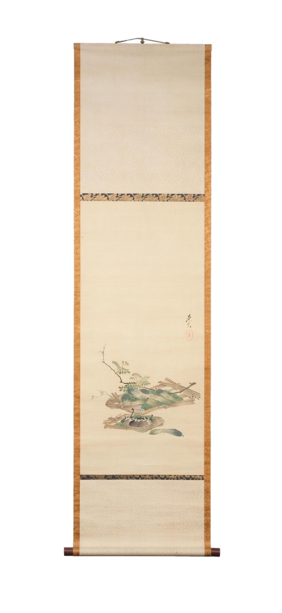 SHIBATA ZESHIN 柴田是真 (1807–1891) CUCUMBERS AND AUBERGINES 胡瓜茄子図絹本着色掛軸 Meiji era (1868–1912), circa 1880–1890