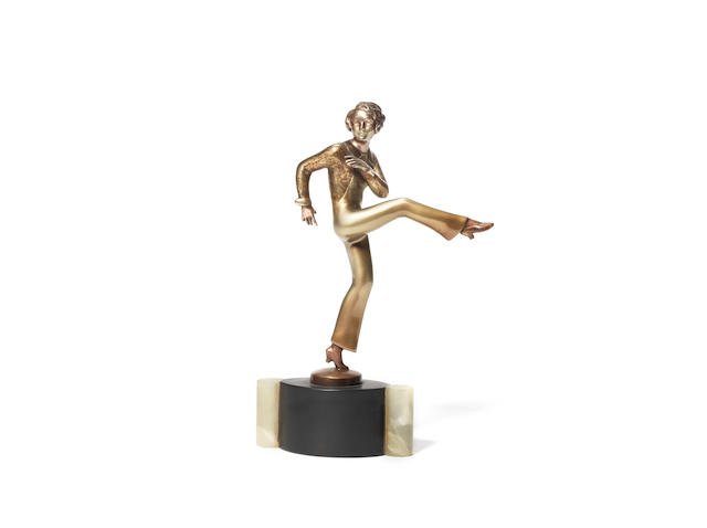 'Just for Kicks' an art deco silvered and gilded bronze study by josef lorenzl SIGNED IN CAST, CIRCA 1925