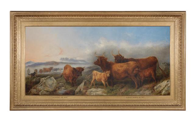 Richard Ansdell, RA (British, 1815-1885) Gathering the herd