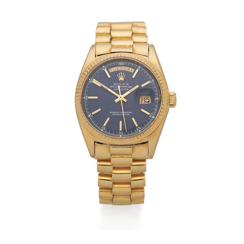 Rolex. An 18K gold automatic calendar bracelet watch  Day-Date, Ref: 1803, Circa 1970