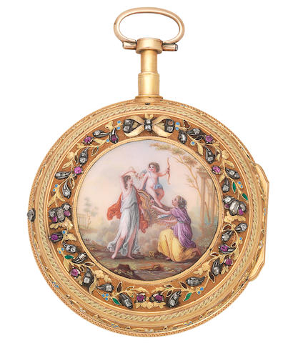Journier, Geneva. A fine gold key wind open face repeating pocket watch with enamel and stone set reverse Circa 1790