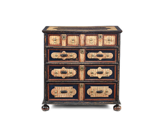 A remarkable and documented polychrome-painted oak chest of drawers, English A late 17th century oak chest of drawers, probably painted in the 18th century
