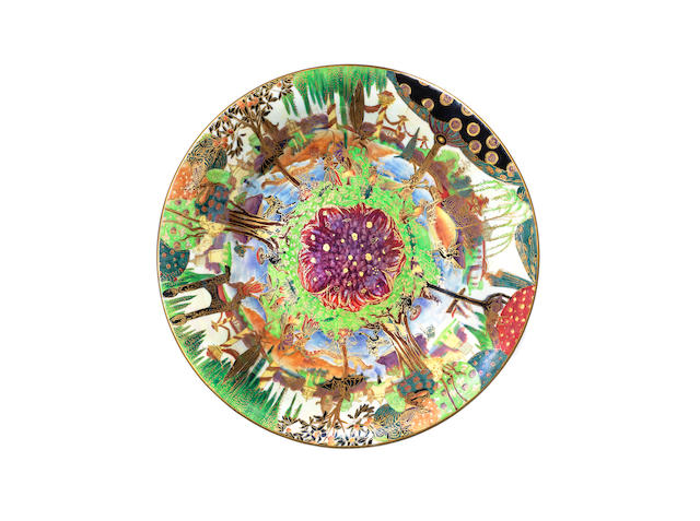 A Daisy Makeig-Jones Fairyland Lustre Lily Tray in the 'Fairy Gondola' Pattern PRINTED WEDGWOOD MARK; CIRCA 1918