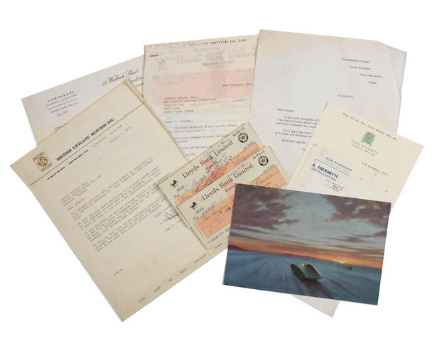 Items of correspondence including cheques signed by Donald Healey,