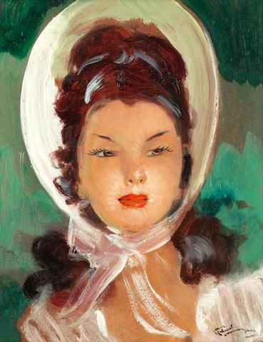 Jean-Gabriel Domergue (1889-1962) Jeune femme au chapeau