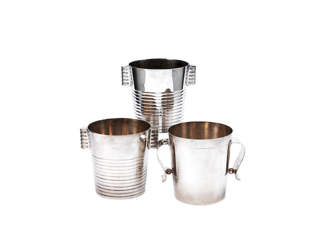 a set of three art deco christofle 'gallia' plated metal ice buckets STAMPED MAKER'S MARK, CIRCA 1925